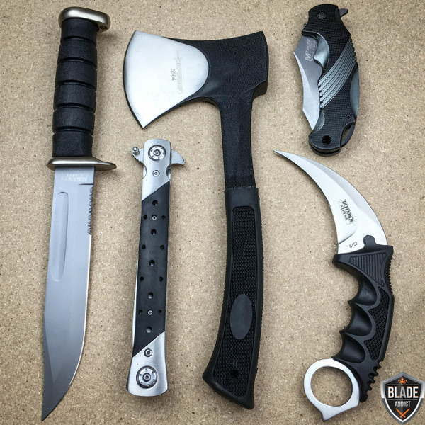 5PC SILVER BLACK TACTICAL HUNTING OUTDOOR SET