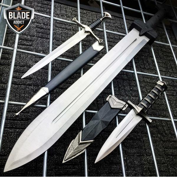 3PC FANTASY GLADIATOR ROMAN SWORD MACHETE KNIVES SET
