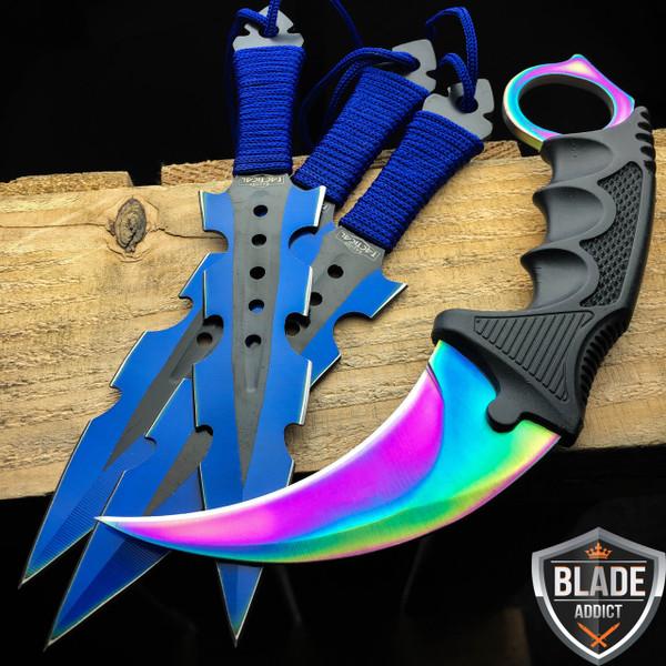 4PC Hunting Tactical Throwing Knife Karambit SET