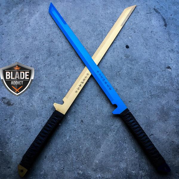 "2PC 27"" FULL TANG NINJA MACHETE KATANA SWORD ZOMBIE TACTICAL SURVIVAL KNIFE SET"