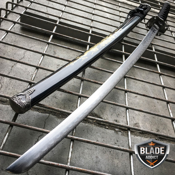 "40"" BLACK GOLD DRAGON SAMURAI NINJA Bushido KATANA Japanese Sword Steel Blade"