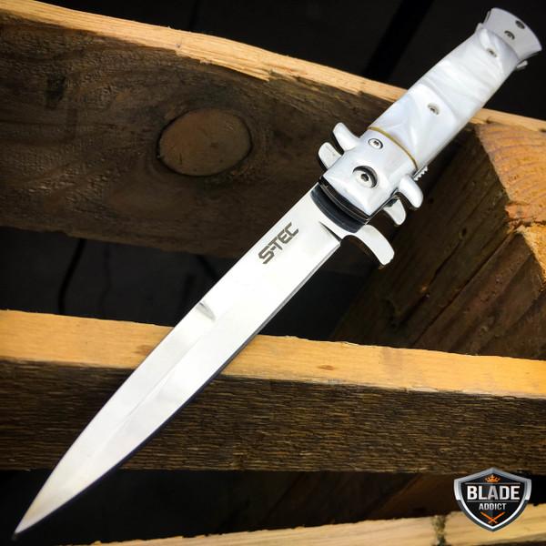 "9"" Classic Italian Milano PEARL Assist Open Folding Stiletto Blade Pocket Knife"