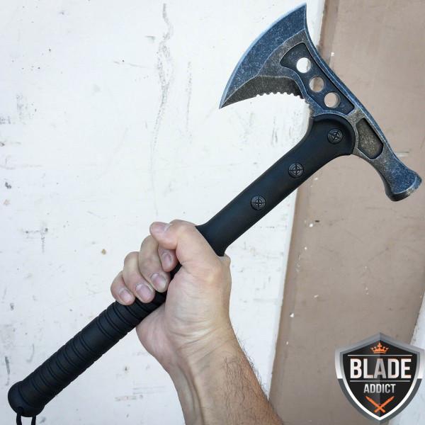 "15"" Stonewash Hunting TOMAHAWK BATTLE Axe HATCHET w Sheath Outdoor Camping Knife"