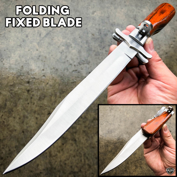 """12"""" Tactical Hunting FOLDING Fixed Blade Camping Knife Bowie w/ Leather Sheath"""