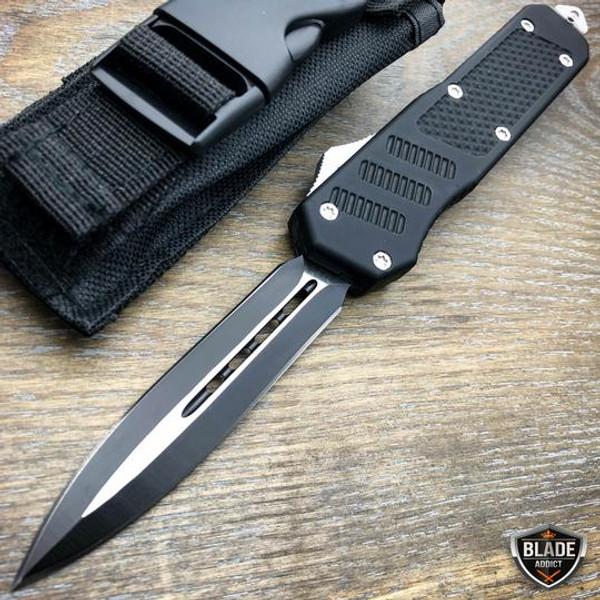 Black Tracker OTF Dual Action Pocket Knife
