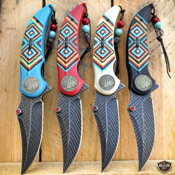 """8.25"""" Native American Indian Feather Tactical Spring Assisted Open Pocket Knife"""