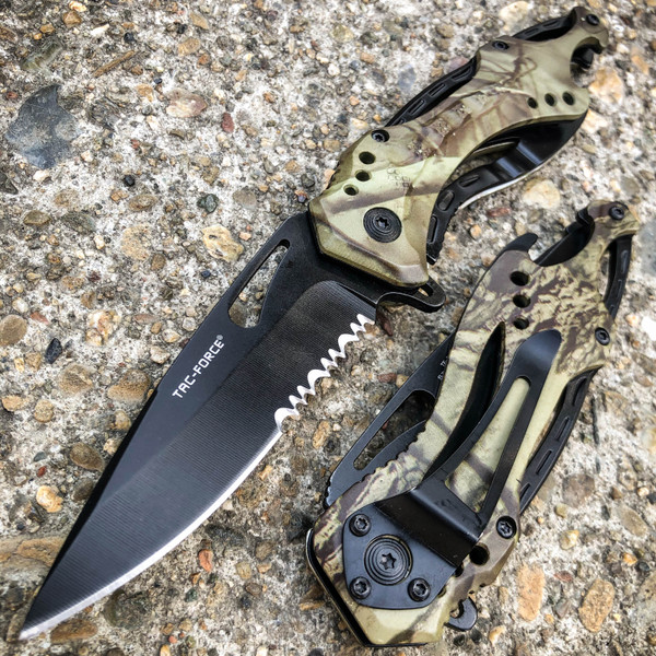 """8"""" TAC FORCE MILITARY CAMO SPRING ASSISTED TACTICAL FOLDING KNIFE Blade Pocket"""