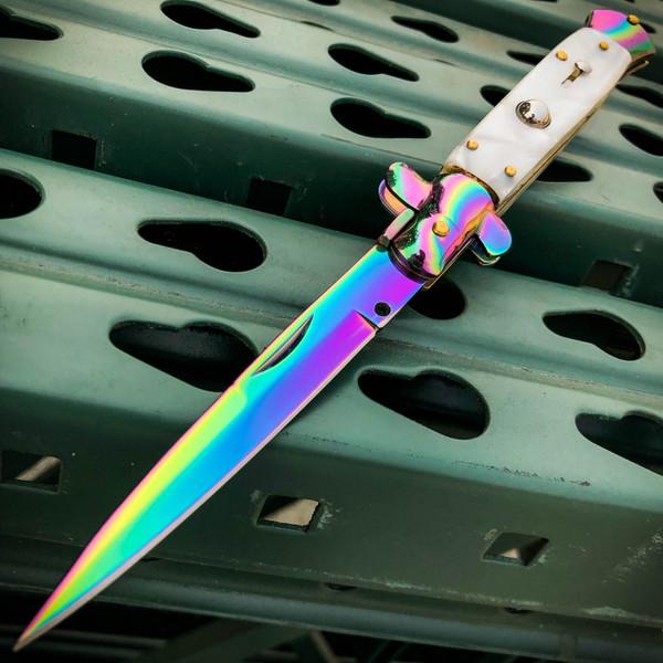 Rainbow Italian Stiletto Switch Blade Pocket Knife
