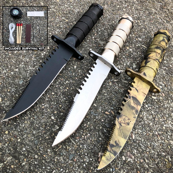 "8.5"" Tactical Camping Outdoor Fixed Blade Hunting Fishing Knife w Survival Kit"