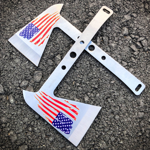 2 PC SILVER Tactical Axe TWIN Double USA FLAG Tomahawk Hatchet Throwing Knife