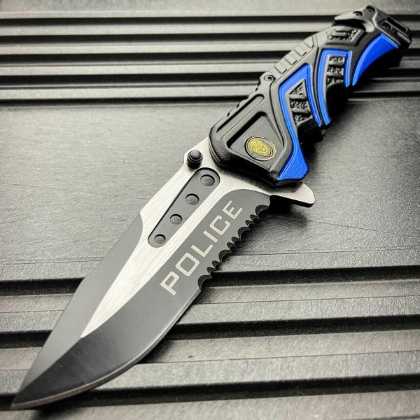 8.25 BLUE POLICE SPRING OPEN ASSISTED TACTICAL RESCUE FOLDING POCKET KNIFE NEW