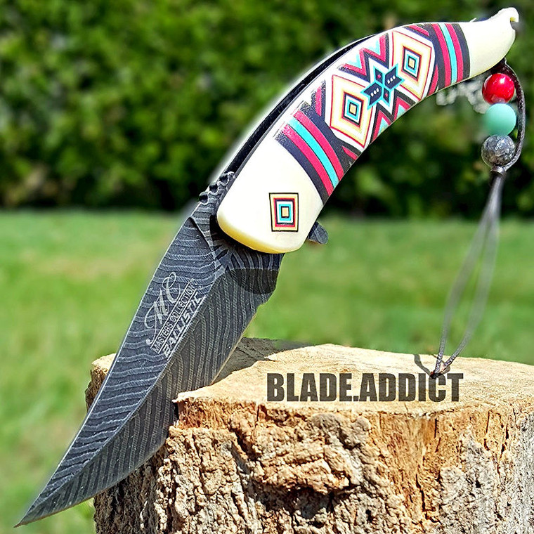 "8.5"" Native American Indian Spring Assisted Open Pocket Knife Damascus Feather 6"