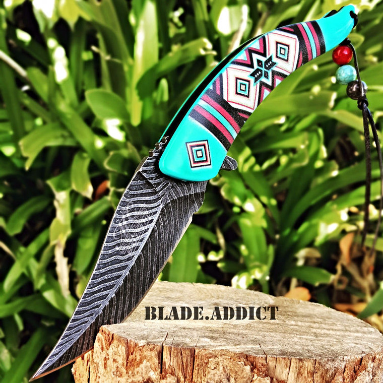 """8.5"""" Native American Indian Spring Assisted Open Pocket Knife Damascus Feather  BL"""