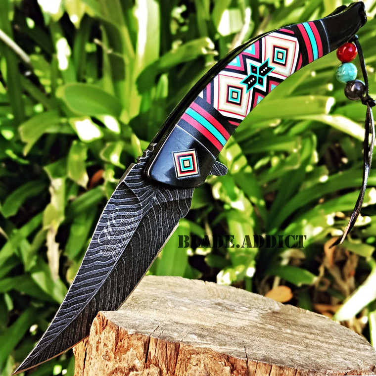 """8.5"""" Native American Indian Spring Assisted Open Pocket Knife Damascus Feather BK"""