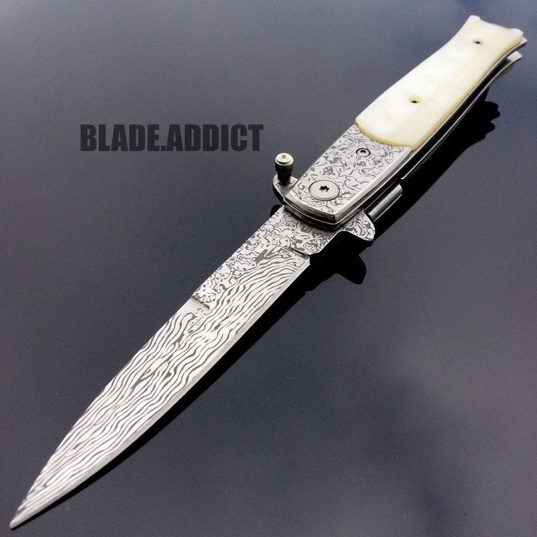 """8.5"""" Damascus Classic Italian Stiletto Spring Assisted Open Pocket Knife Pearl"""