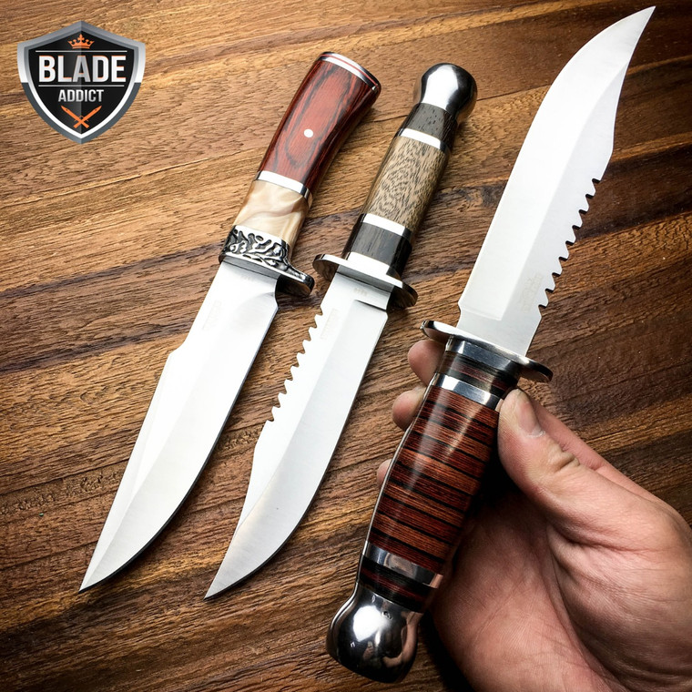 "3 PC 10.5"" Stainless Steel Survival Skinning Hunting Knife Bowie Camping SET NEW"