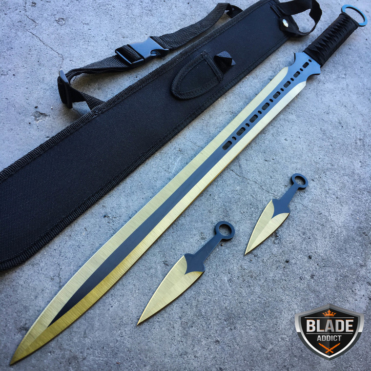 "28"" GOLD NINJA SWORD Full Tang Machete Tactical Blade Katana Throwing Knife NEW"