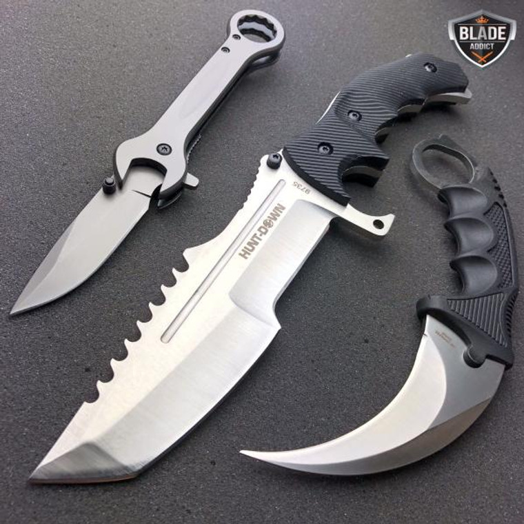 3 PC Tactical Hunting Fixed Blade Knife Karambit Wrench Tool SILVER SET NEW