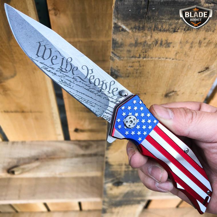 M-Tech USA American Flag Patriotic Pocket Knife