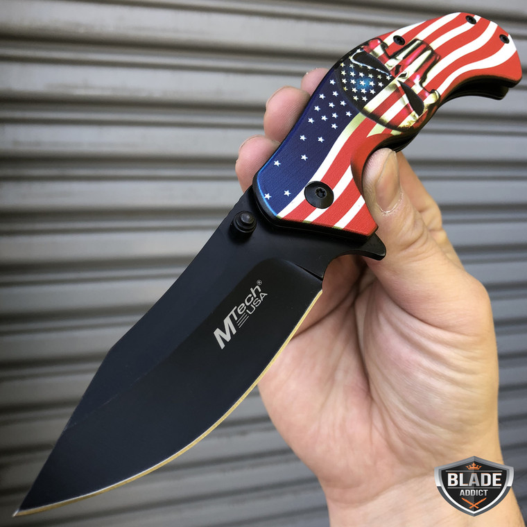 "8"" MTECH USA American Flag Punisher Skull SPRING ASSISTED OPEN Folding Pocket Knife"