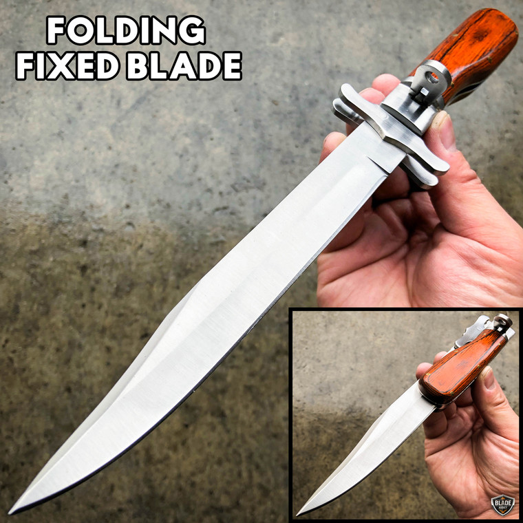 "12"" Tactical Hunting FOLDING Fixed Blade Camping Knife Bowie w/ Leather Sheath"