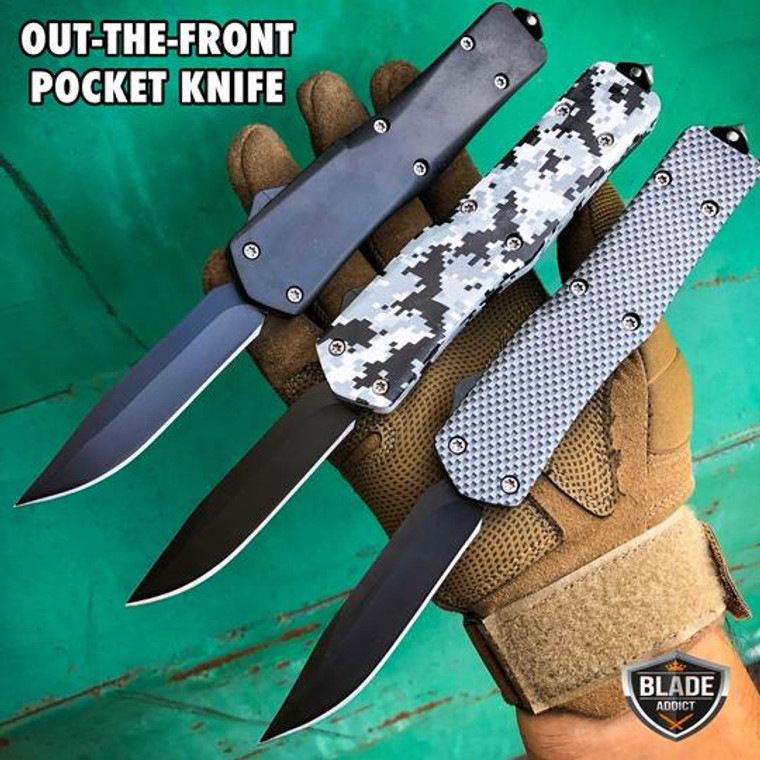 "9"" Military Combat Spring Assisted Blade Out The Front OTF Tactical Pocket Knife - Choose A Style!"