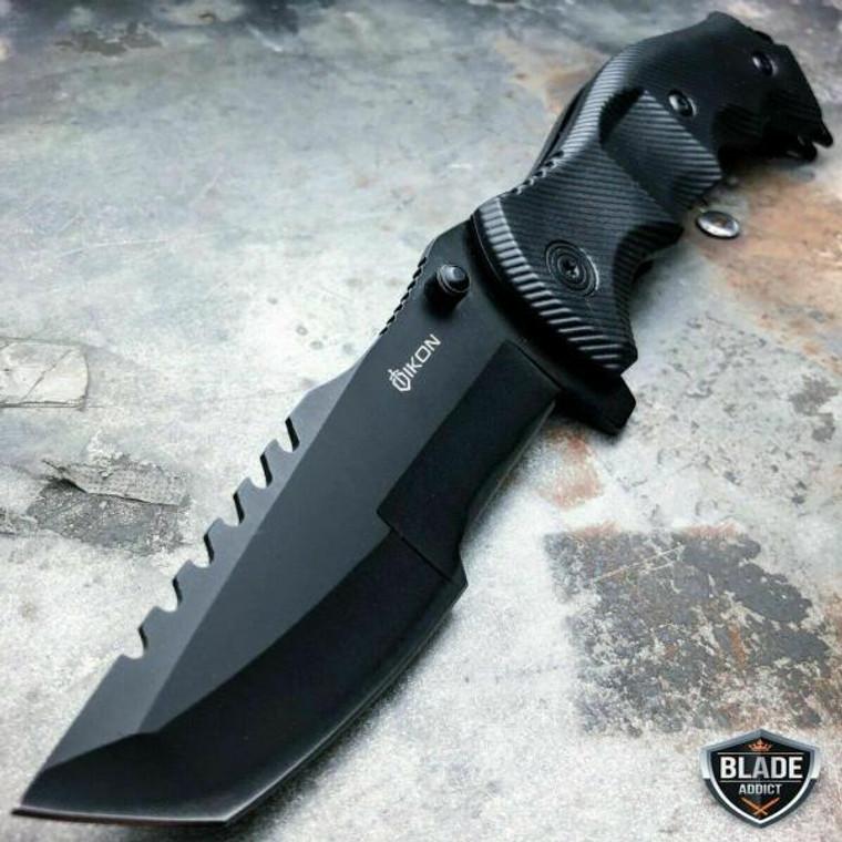 TACTICAL Spring Assisted Open Pocket Knife CLEAVER RAZOR FOLDING Blade Black NEW