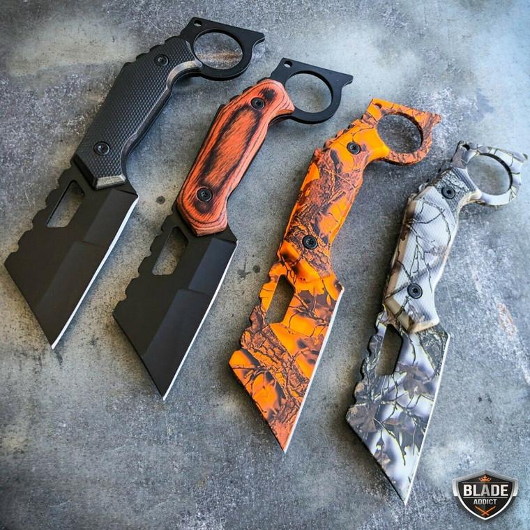 "7"" Straight Edge Razor Fixed Blade Cleaver Hunting Tactical Knife"