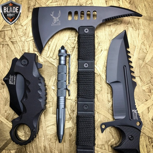 4pc Black Tactical Hunting Combat Set Megaknife