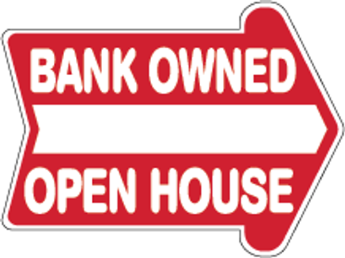 Bank Owned Open House 18 x 24 Corrugated Rounded Arrow - Red