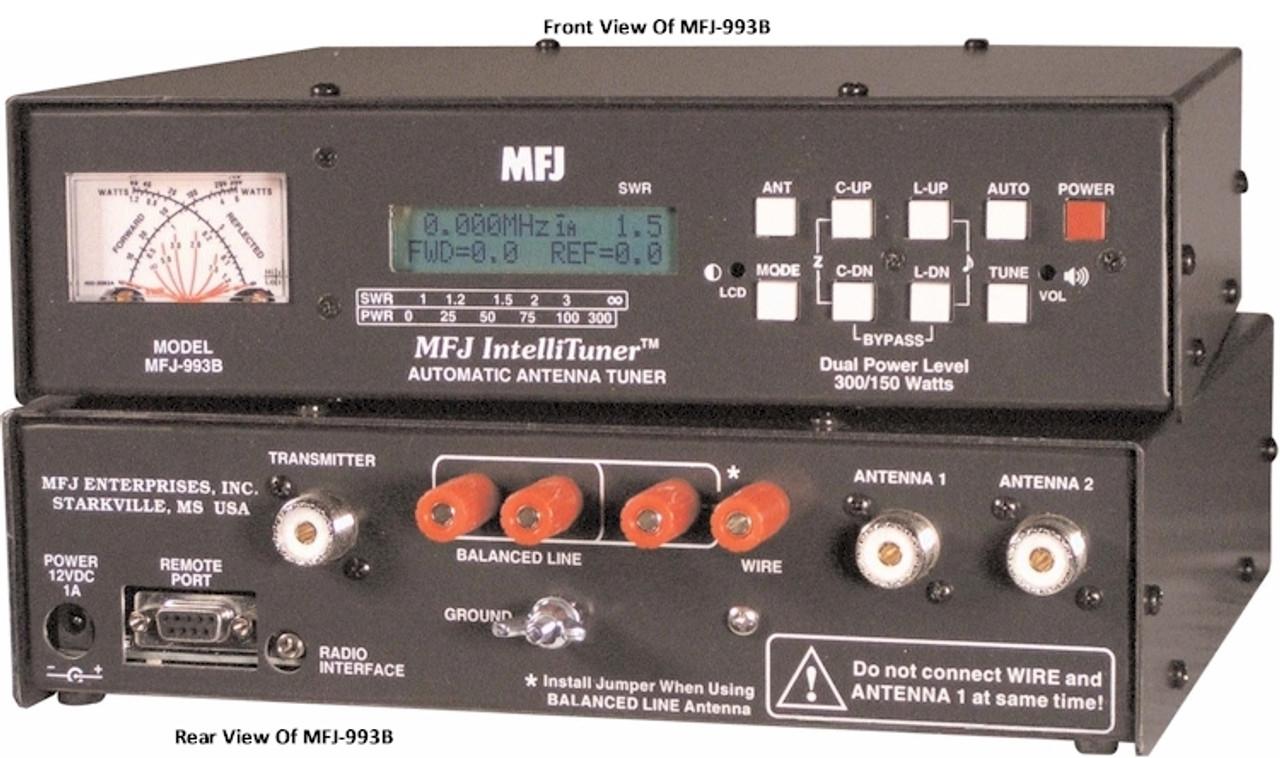MFJ-993B, DUAL POWER AUTO TUNER, 300/150W, 1.8-30MHZ