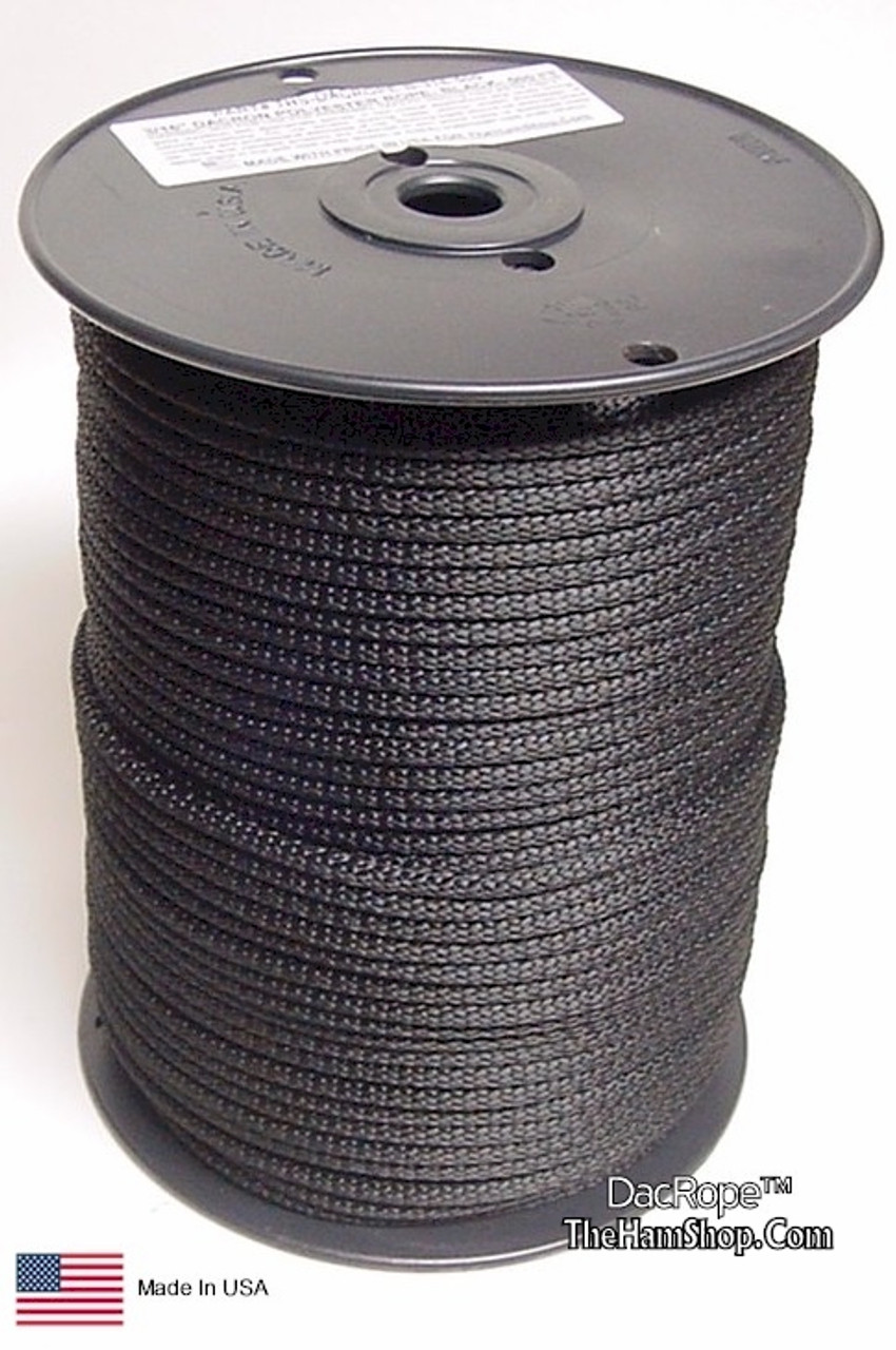 """Antenna Support Rope, 3/16"""" 500', Black, Round, 100% Dacron Polyester Rope"""