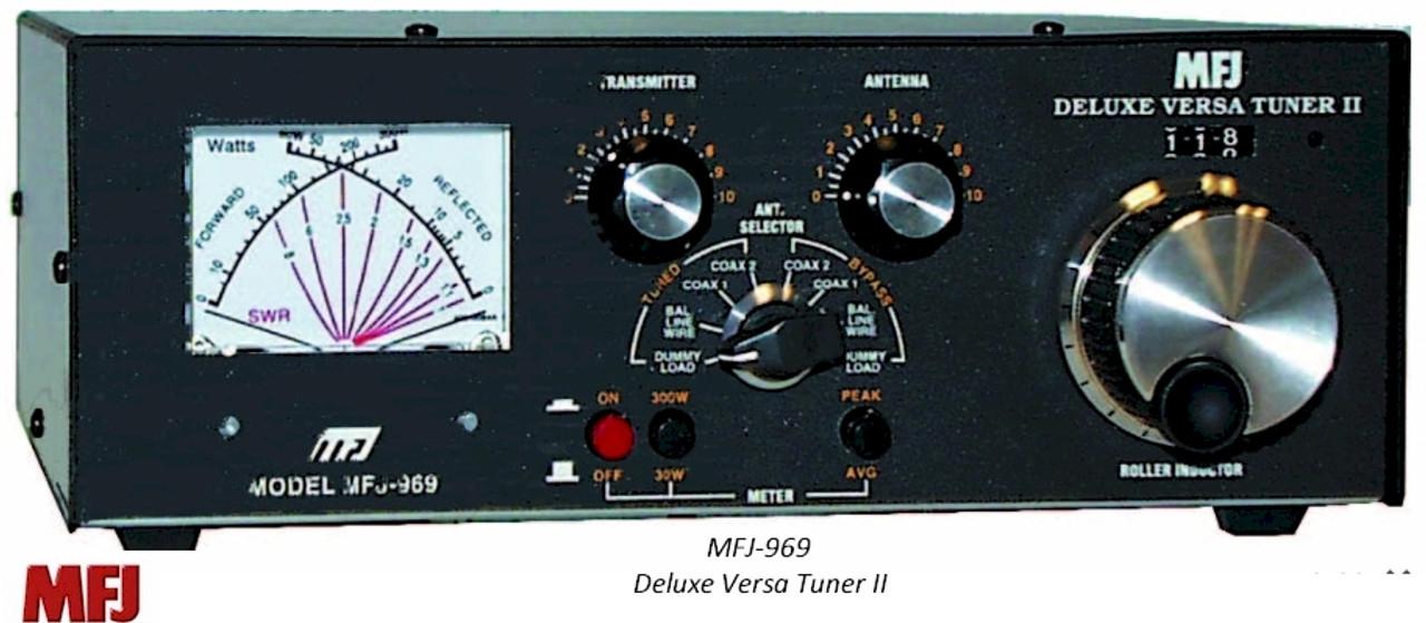 MFJ-969, DELUXE VERSA TUNER II, HIGH FREQUENCY PLUS 6 METERS, 300 WATT, WITH ROLLER INDUCTOR