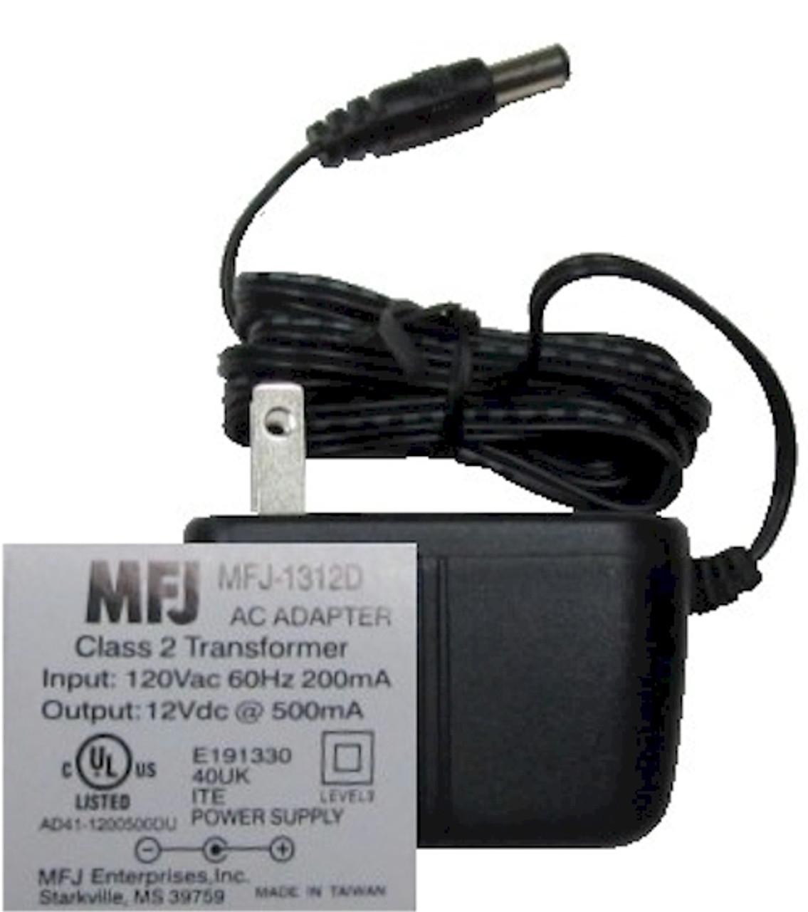 MFJ-1312D, POWER SUPPLY, AC ADAPTOR, 12 VDC, 500 MA