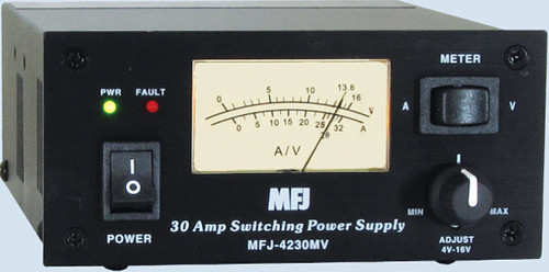 MFJ-4230MV, COMPACT SWITCHING POWER SUPPLY WITH METER, 4-16 VOLTS ADJUSTABLE - 110/220VAC