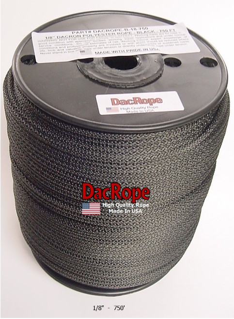 """Antenna Support Rope, 1/8"""" 750', Black, Round, 100% Dacron Polyester Rope"""