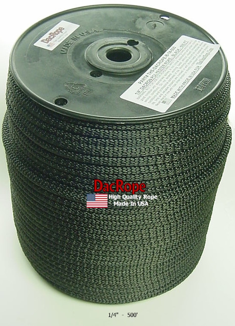 """Antenna Support Rope, 1/4"""" 500', Black, Round, 100% Dacron Polyester Rope"""