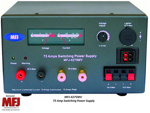 MFJ-4275MV, DELUXE 12 VOLT ADJUSTABLE, 75 AMPS, SWITCHING POWER SUPPLY