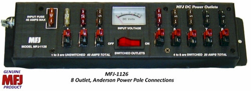 MFJ-1126 - 8 Outlet, Anderson Powerpole, Fused, Multi-Outlet Strip With Meter