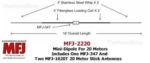 MFJ-2220, 20 Meter Mini-Dipole Includes MFJ-347 & 2 MFJ-1620T Hamstick Antennas