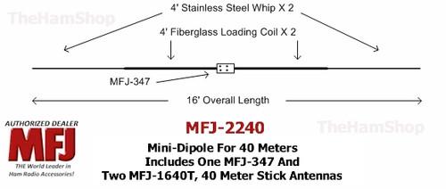 MFJ-2240, 40 Meter Mini-Dipole Includes MFJ-347 & 2 MFJ-1640T Hamstick Antennas