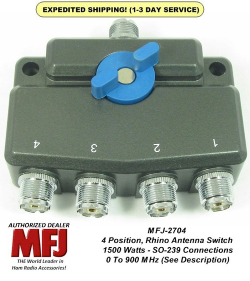 MFJ-2704, 4 Position Antenna Switch, DC- 900 MHz, 1.5 KW Gold Plated Contacts