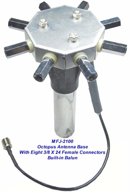 MFJ-2100 - HF OCTOPUS ANTENNA BASE, WITH EIGHT 3/8-24 FEMALE
