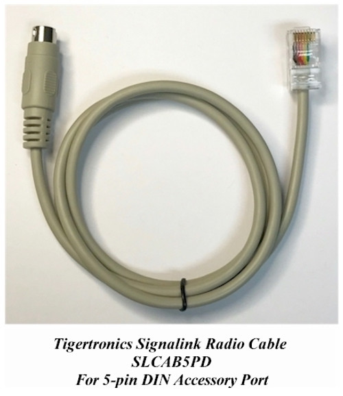 Tigertronics Signalink SLCAB5PD Cable - This radio cable is compatible with virtually any radio that has an 5-pin DIN Accy Port. This includes many Yaesu and Ten-Tec radios, and well as some from other manufacturers.