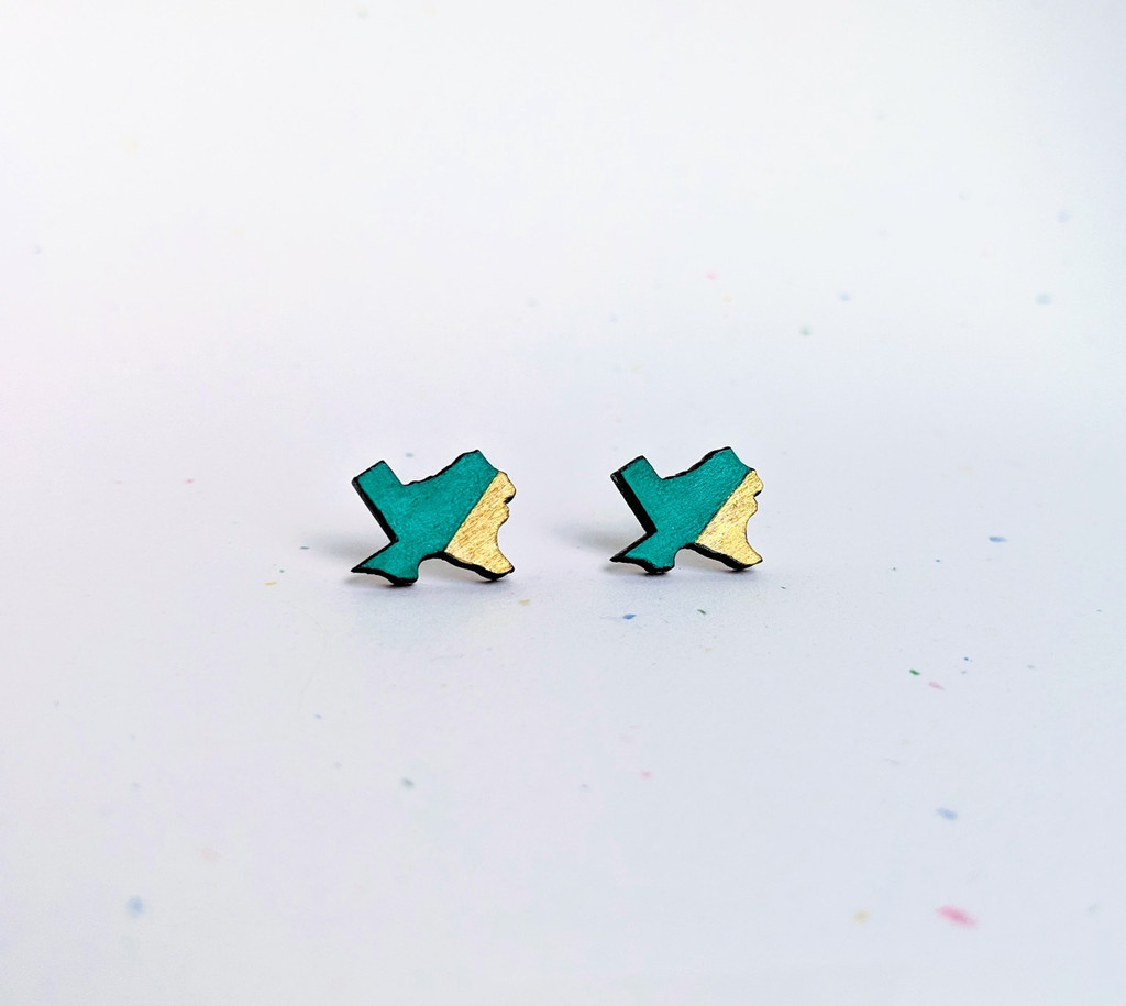 TX  Studs / Teal + Gold