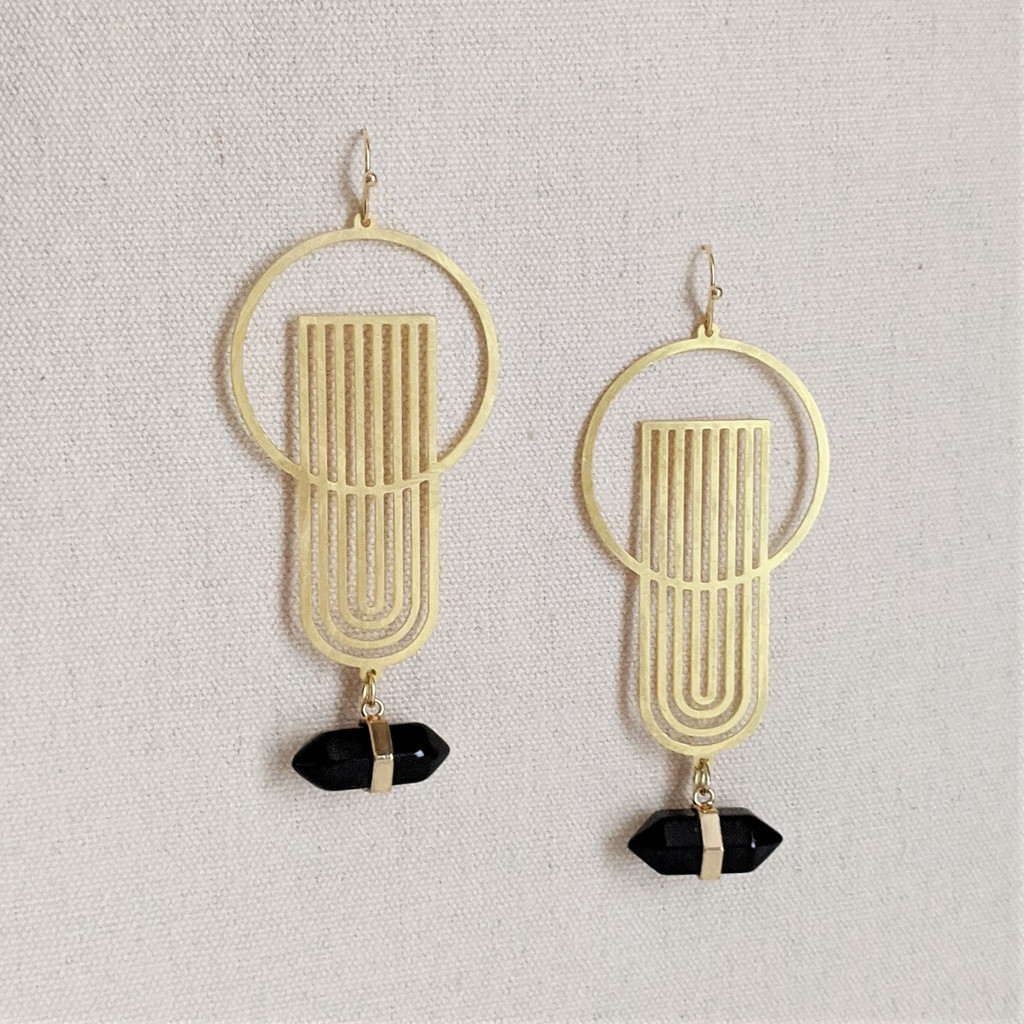 Art Deco Earrings / Black