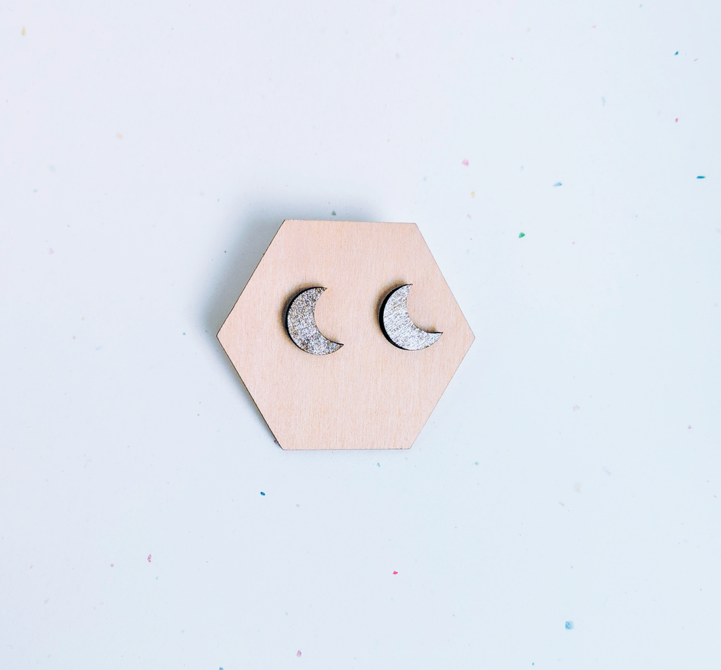 Moon Wood Studs / Gold Shimmer