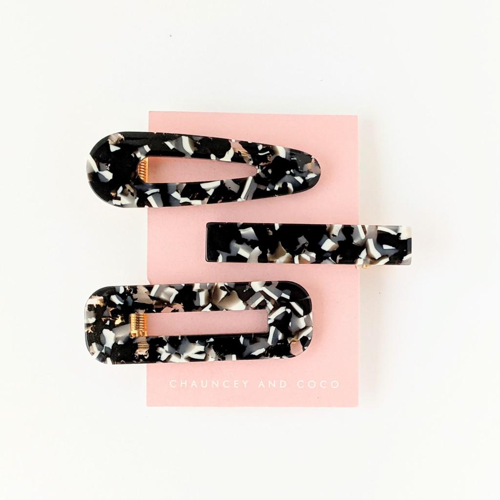Black and White Hair Clip Set