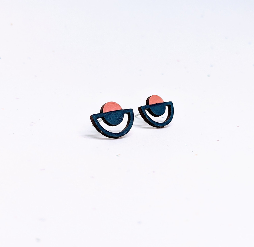 Sunrise Wood Earrings / Navy + Terra Cotta Pink