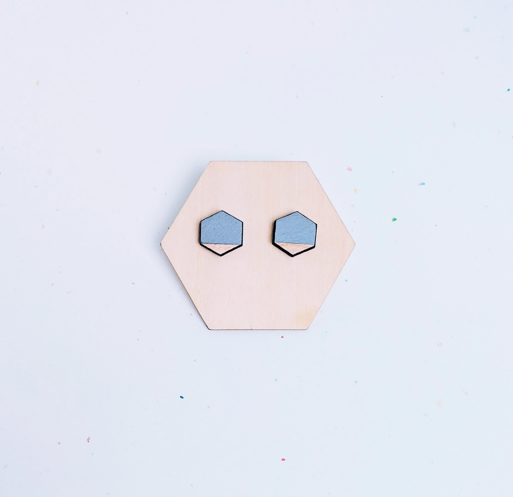 Mini Hexagon Wood Studs / Grey